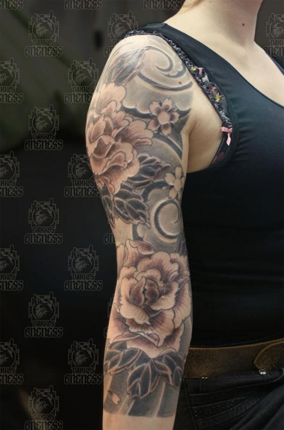 Japanese peony black and grey sleeve | Tattoo by Darko ...