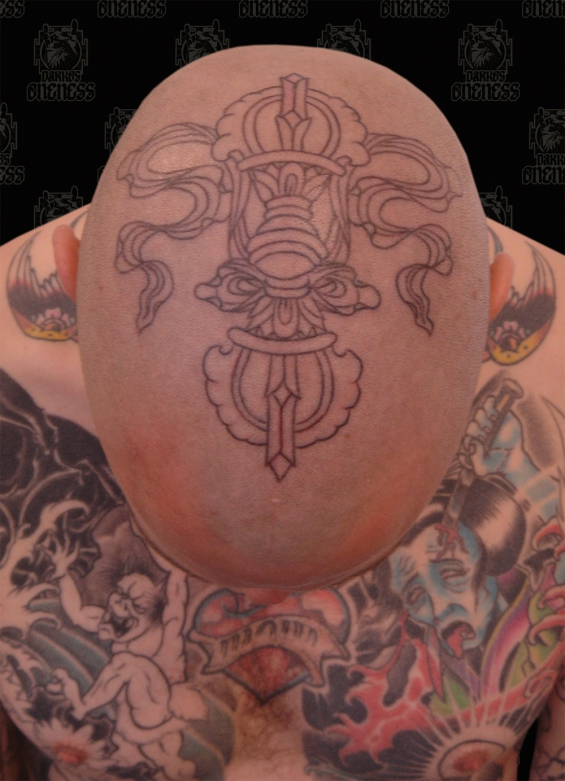Tattoo Tibetan vajra head by Darko groenhagen