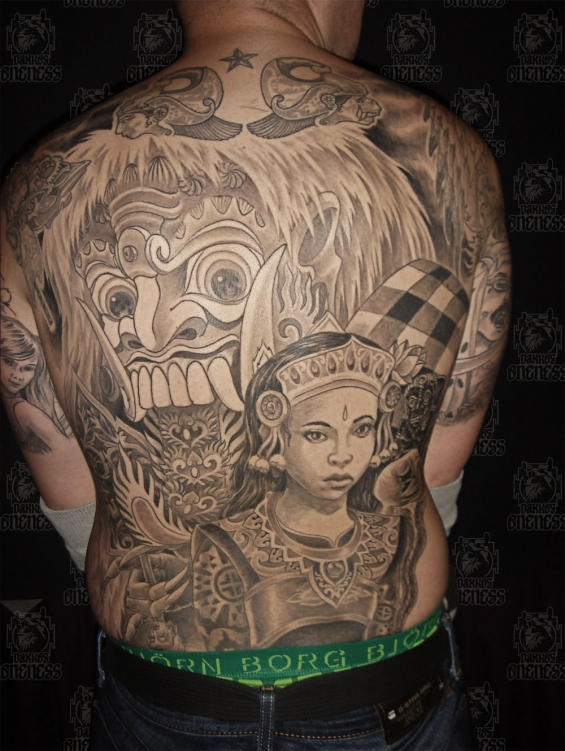 Indonesian and indian indonesian backpiece darko oneness tattoo2