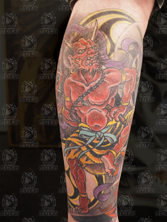 Tattoo Japanese demon and snake lowerleg by Darko groenhagen