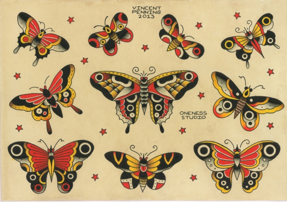 Traditional Butterfly Tattoo Flash: Tattoo By Vincent Penning