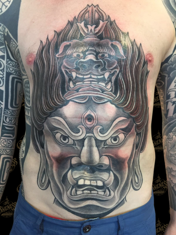 Tattoo Tibetan front piece by Darko groenhagen