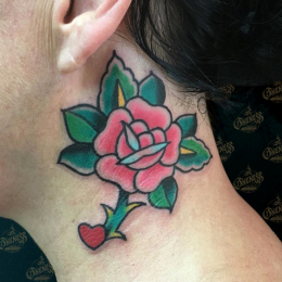 Tattoo Neck rose by Sjoerd elstak