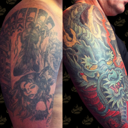 Tattoo Dragon cover up by Darko groenhagen