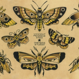 Tattoo Moths flash by Vincent penning