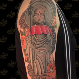 Tattoo Jizo and child by Sjoerd elstak