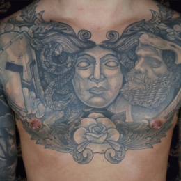 Tattoo Black and grey chest piece by Sjoerd elstak