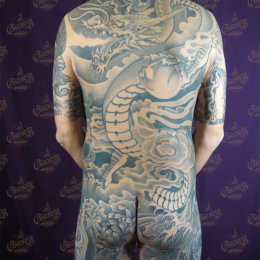 Tattoo Dragon backpiece black and grey by Darko groenhagen