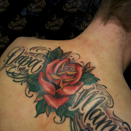 Tattoo Rose and lettering by Pieter pas