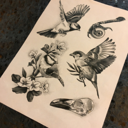 Tattoo Birds flash by Iris van der peijl