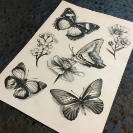 Tattoo Butterflies flash by Iris van der peijl