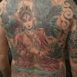 Tattoo Tibetan white tara backpiece by Darko groenhagen