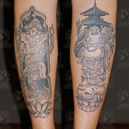 Tattoo Japanese lucky gods by Darko groenhagen