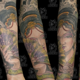 Tattoo Japanese geisha with snake and hannya by Darko groenhagen