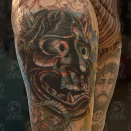 Tattoo Japanese hannya cover by Darko groenhagen