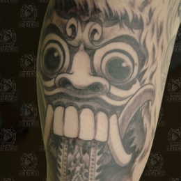 Tattoo Indonesian and indian black and grey barong by Darko groenhagen