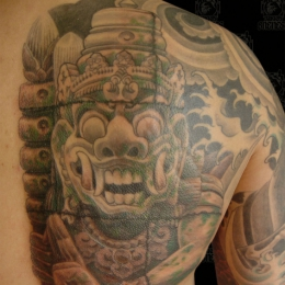 Tattoo Indonesian and indian shoulder barong by Darko groenhagen