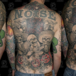 Tattoo Skulls skeleton band backpiece by Darko groenhagen
