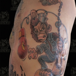 Tattoo Comic monkey with skull by Darko groenhagen