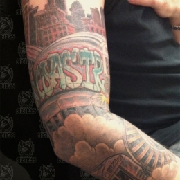 Tattoo Comic rollercoaster train by Darko groenhagen