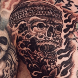Tattoo Tibetan skull chest by Darko groenhagen