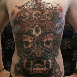 Tattoo Tibetan mahakala stomach by Darko groenhagen