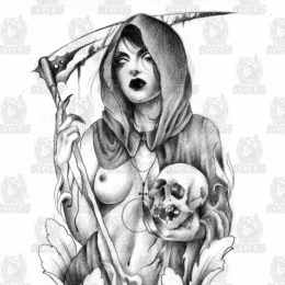 Tattoo Girl and skulls drawing by Madeleine hoogkamer