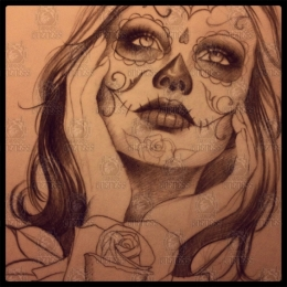 Tattoo Dia de los muertos drawing by Madeleine hoogkamer