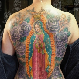 Tattoo Holy mary backpiece by Darko groenhagen