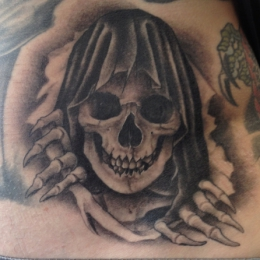 Tattoo Hooded skull by Madeleine hoogkamer