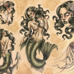 Tattoo Mermaids flash by Madeleine hoogkamer
