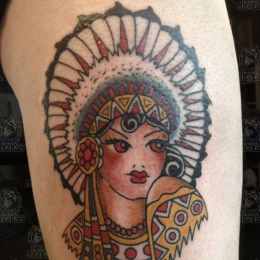 Tattoo Indian girl by Sjoerd elstak