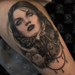Tattoo Lace lady by Madeleine hoogkamer