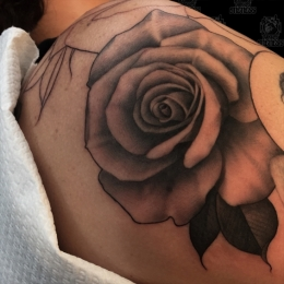 Tattoo Shoulder rose by Madeleine hoogkamer