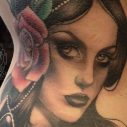 Tattoo Woman and rose by Madeleine hoogkamer