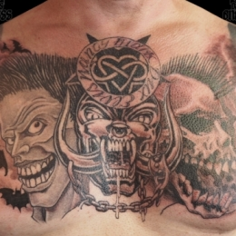 Tattoo Psychobilly chestpiece by Darko groenhagen