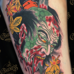 Tattoo Namakubi leaves by Vincent penning