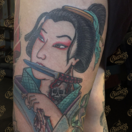 Tattoo Japanese geisha by Darko groenhagen