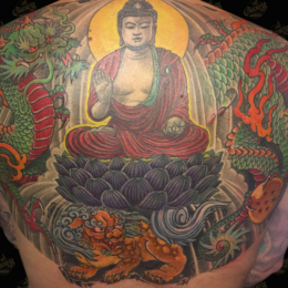 Tattoo Japanese backpiece in colour by Darko groenhagen