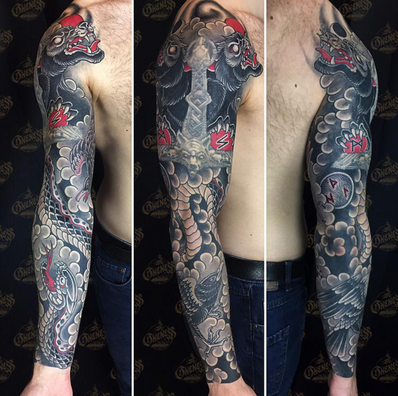 Vince black and grey and red tattoo