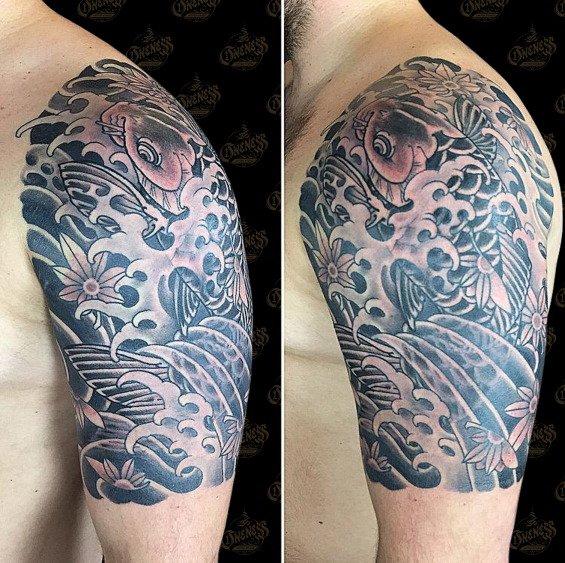 Vince koi in black and grey tattoo
