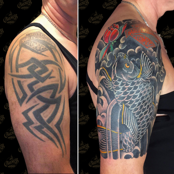 koi cover up tattoo by vincent penning darko\u0027s onenesskoi cover up