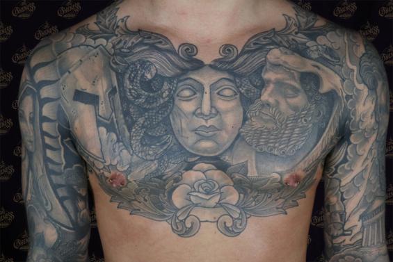 Black And Grey Chest Piece Tattoo By Sjoerd Elstak Darkos Oneness