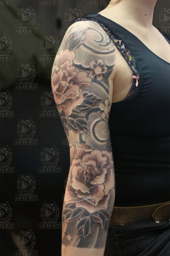 Japanese Peony Black And Grey Sleeve Tattoo By Darko Groenhagen