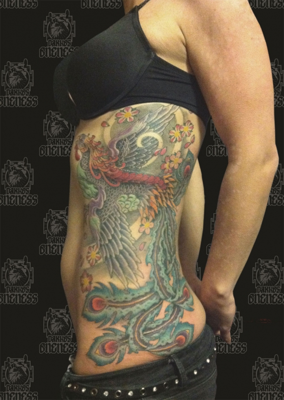 Tattoo Japanese colour peacock rib by Darko groenhagen