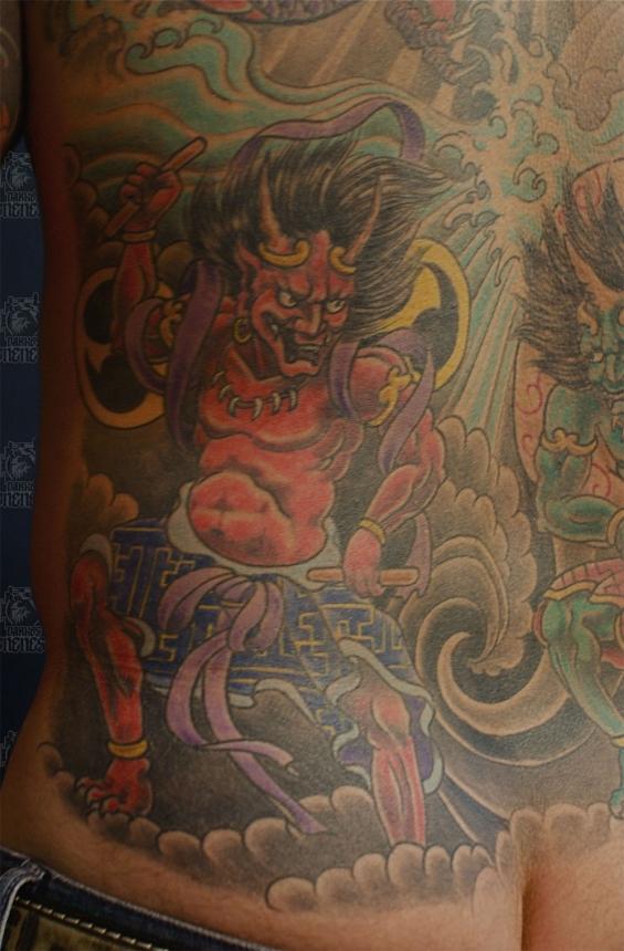 Japanese wind and thunder god | Tattoo by Darko Groenhagen