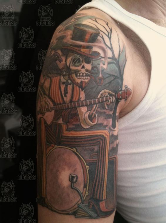 Skulls One Man Band Tattoo By Darko Groenhagen Darko S Oneness