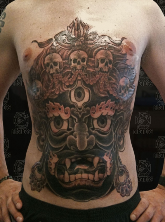 tibetan mahakala stomach tattoo by darko groenhagen darko 39 s oneness. Black Bedroom Furniture Sets. Home Design Ideas