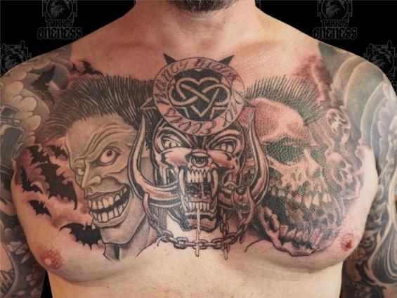Psychobilly chestpiece | Tattoo by Darko Groenhagen | Darko\'s Oneness