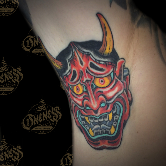 Tattoo Hannya in armpit by Vincent penning